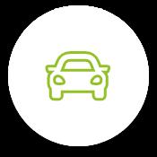 Auto Icon in grün auf weißem Kreis