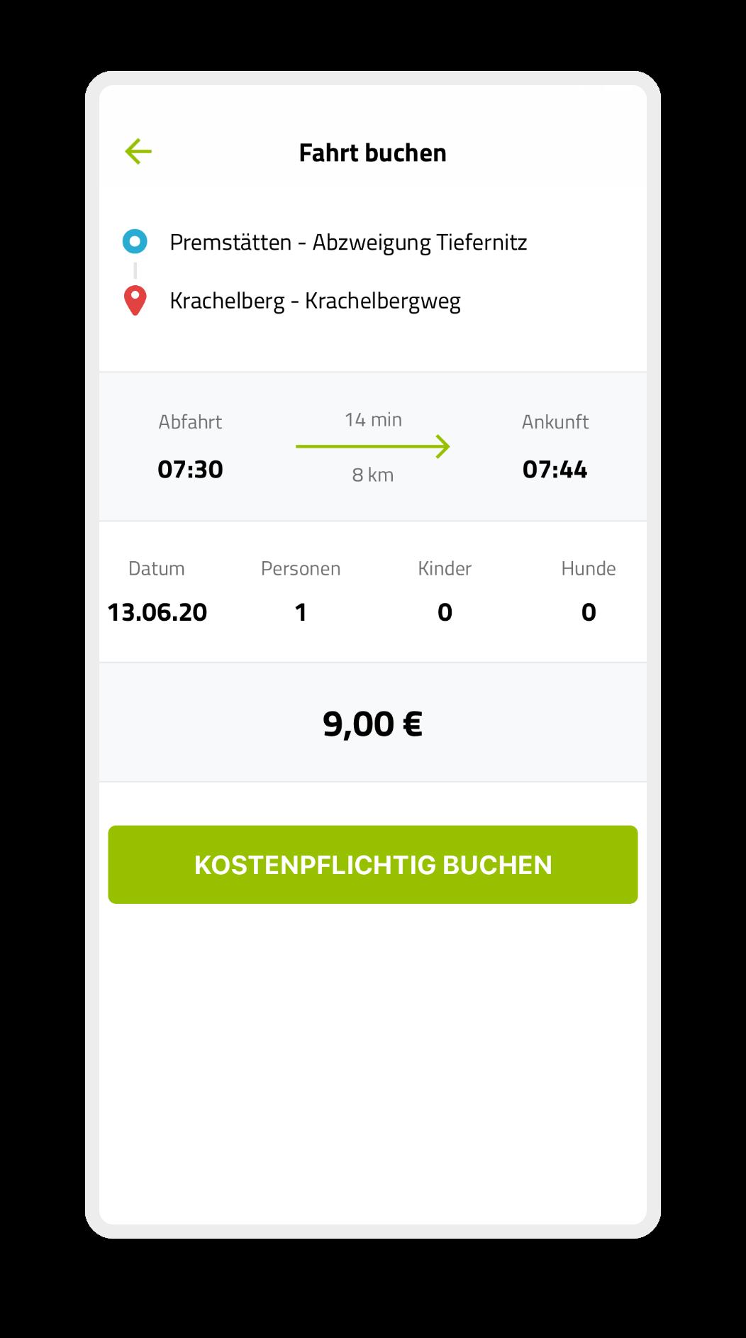 Fahrt buchen Ansicht auf Handy der ISTmobil App