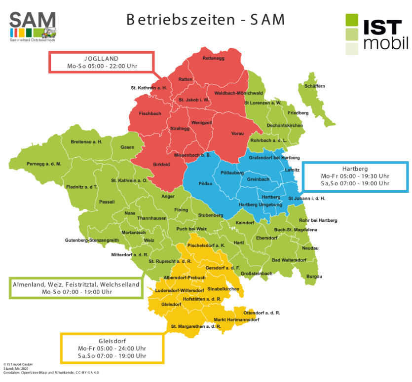 Karte mit Fahrtzeiten der ISTmobil Region SAM Sammeltaxi Oststeiermark