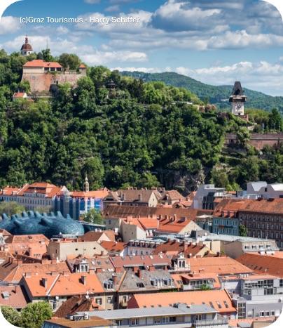 Aussicht auf den Uhrturm und die Dächer der Stadt Graz