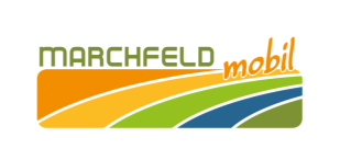 Logo der ISTmobil Region Marchfeld in Orange, Grün und Blau