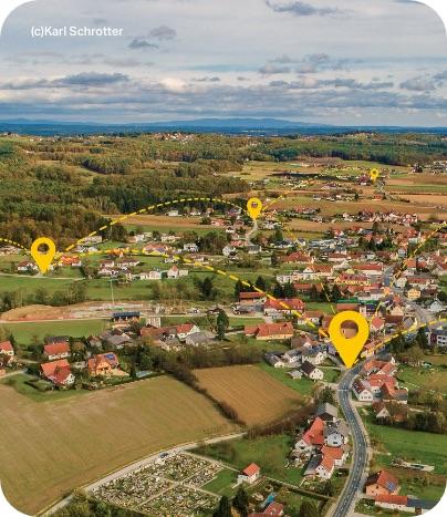 Luftansicht der SAM Region mit gelber Visualisierung des ISTmobil Netzes