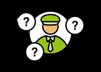 Grünes ISTmobil Fahrer Icon mit Fragezeichen