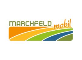 Logo der ISTmobil Region Marchfeld mobil in orange, gelb und grün