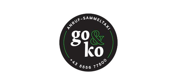 Logo der ISTmobil Region go&ko Anruf-Sammeltaxi schwarz grün